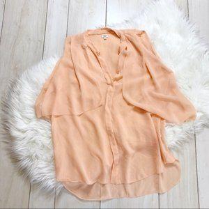 Wilfred Aritzia Peach Silk Sleeveless Sheer Blouse